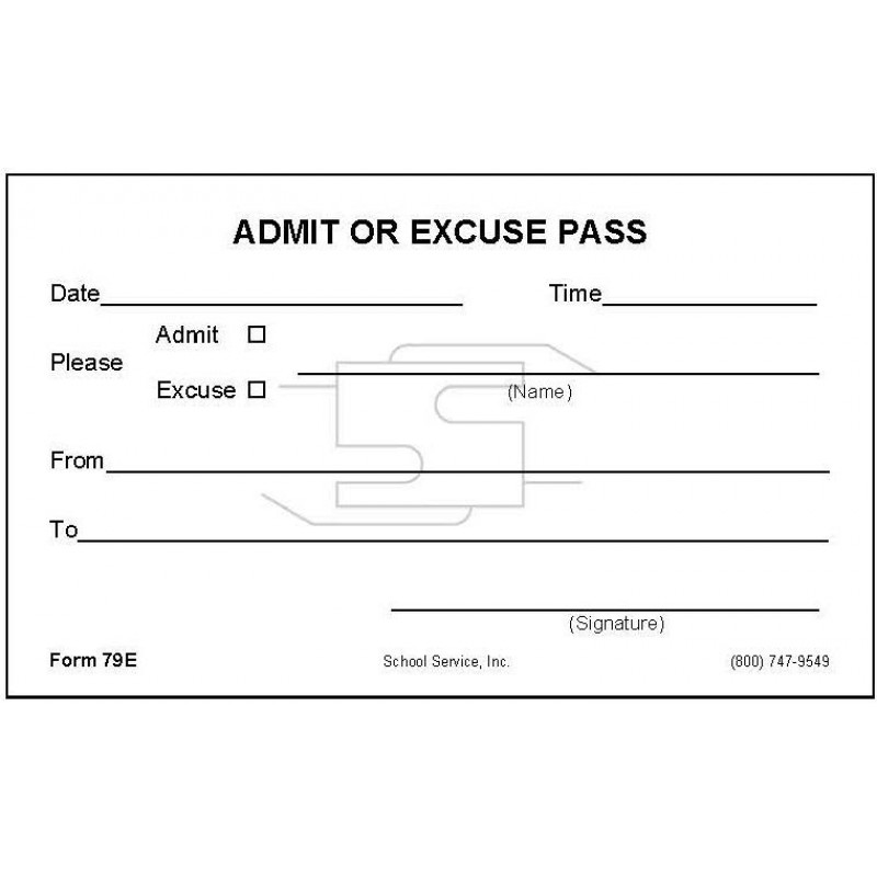 79E - Admit or Excuse Pass - Padded Forms
